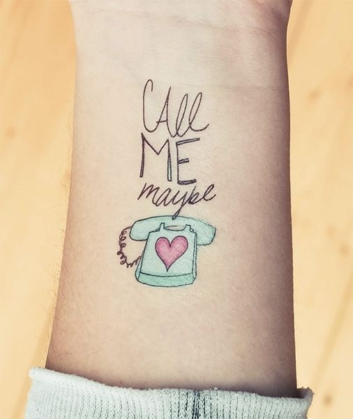 2 designy temporary tattoos call me maybe von tattster auf tattoos. Black Bedroom Furniture Sets. Home Design Ideas