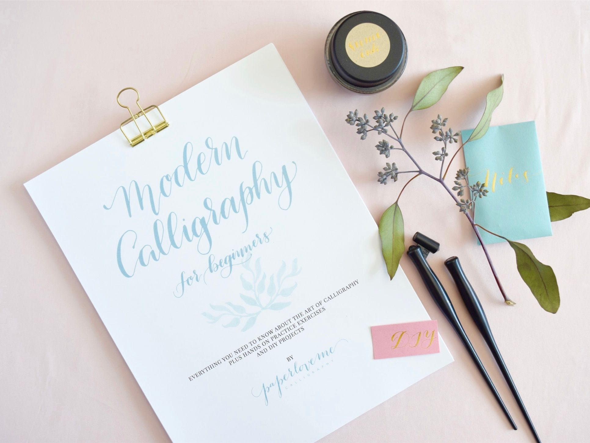 My modern calligraphy for beginners workbook and tool set is for