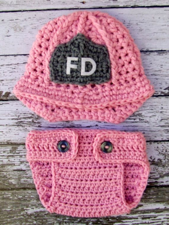Firefighter Helmet in Pink, Gray and White with Matching Diaper ...