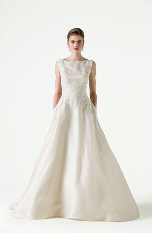 Anne Barge - Bateau A-Line Gown in Silk Organza