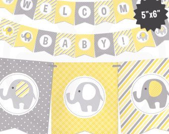 Yellow Elephant Baby Shower Banner   Baby Banner   Yellow And Gray Baby  Shower Decorations