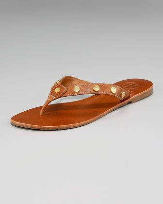 Logo-Stud Thong Sandal by Tory Burch at Neiman Marcus. I will find these...my next purchase!