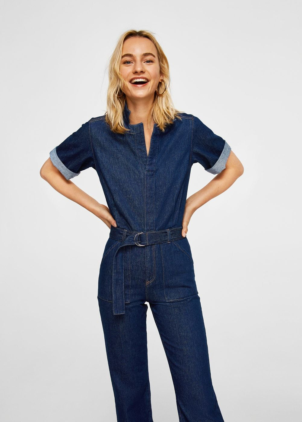 Belt denim jumpsuit - Women   clothing   Ceinture, Ceinture femme ... 180e42b10525