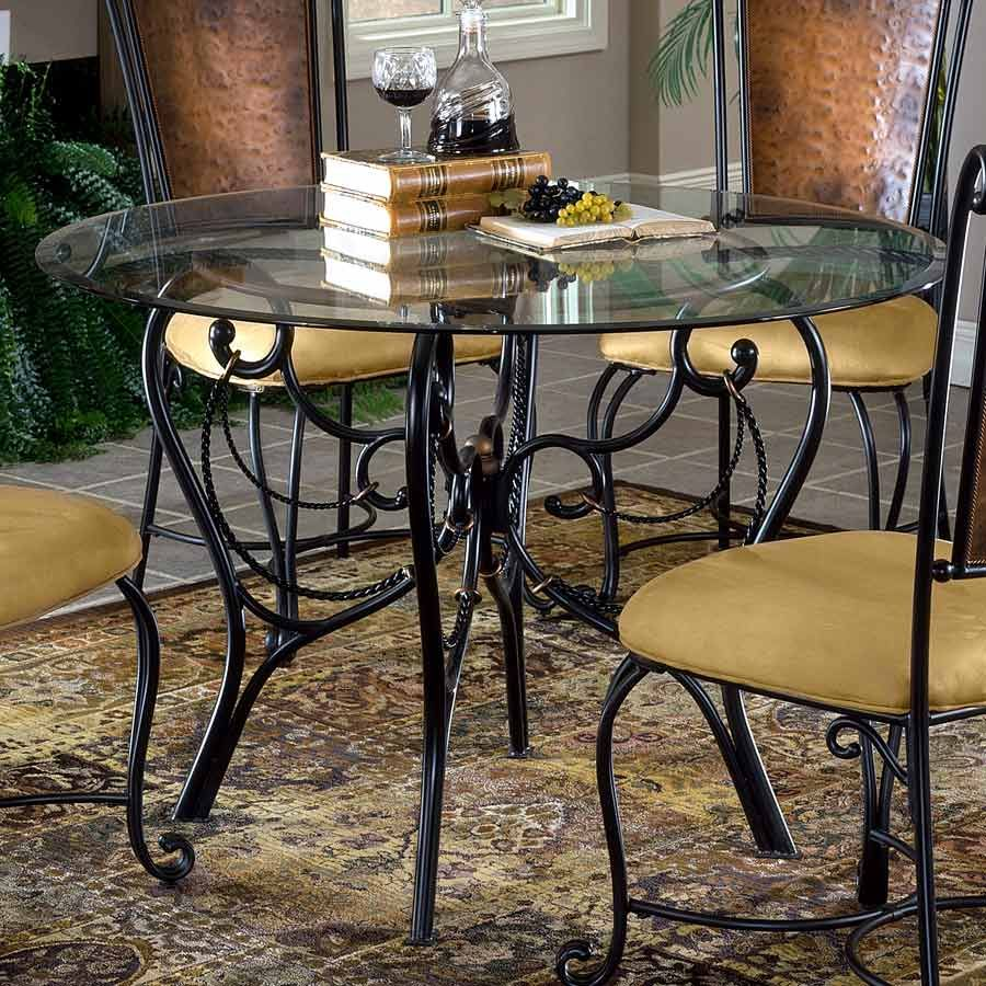 Nice ... Design Ideas With Charming Dining Set Furniture For Dining Room Design  Ideas With Round Glass Table Tops Including Round Black Wrought Iron Dining  Table ...