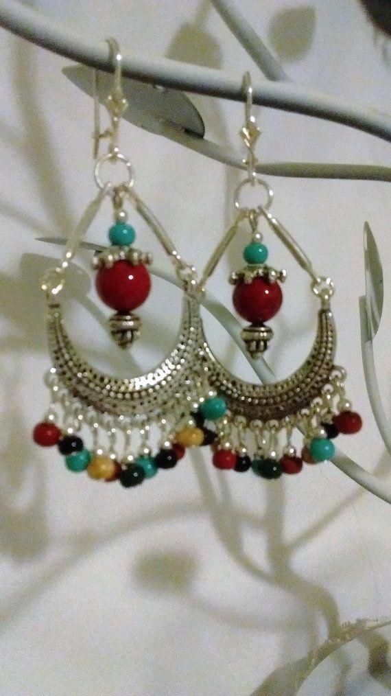 Indian Style Silver Chandelier Earrings By Septembermoonjewelry