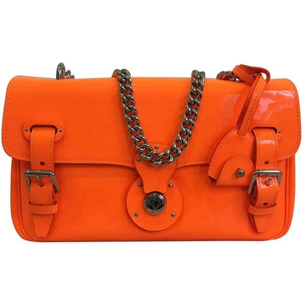 Pre Owned Ralph Lauren Black Label Ricky Patent Leather Clutch Bag 6 310 Mxn Liked On Polyvore Featuring Bags Handbags Clutches Orange Purse