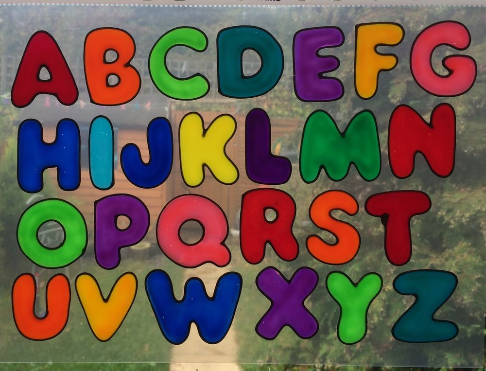 Beas funky alphabet lettering nursery pre school window clings boy girl sticker