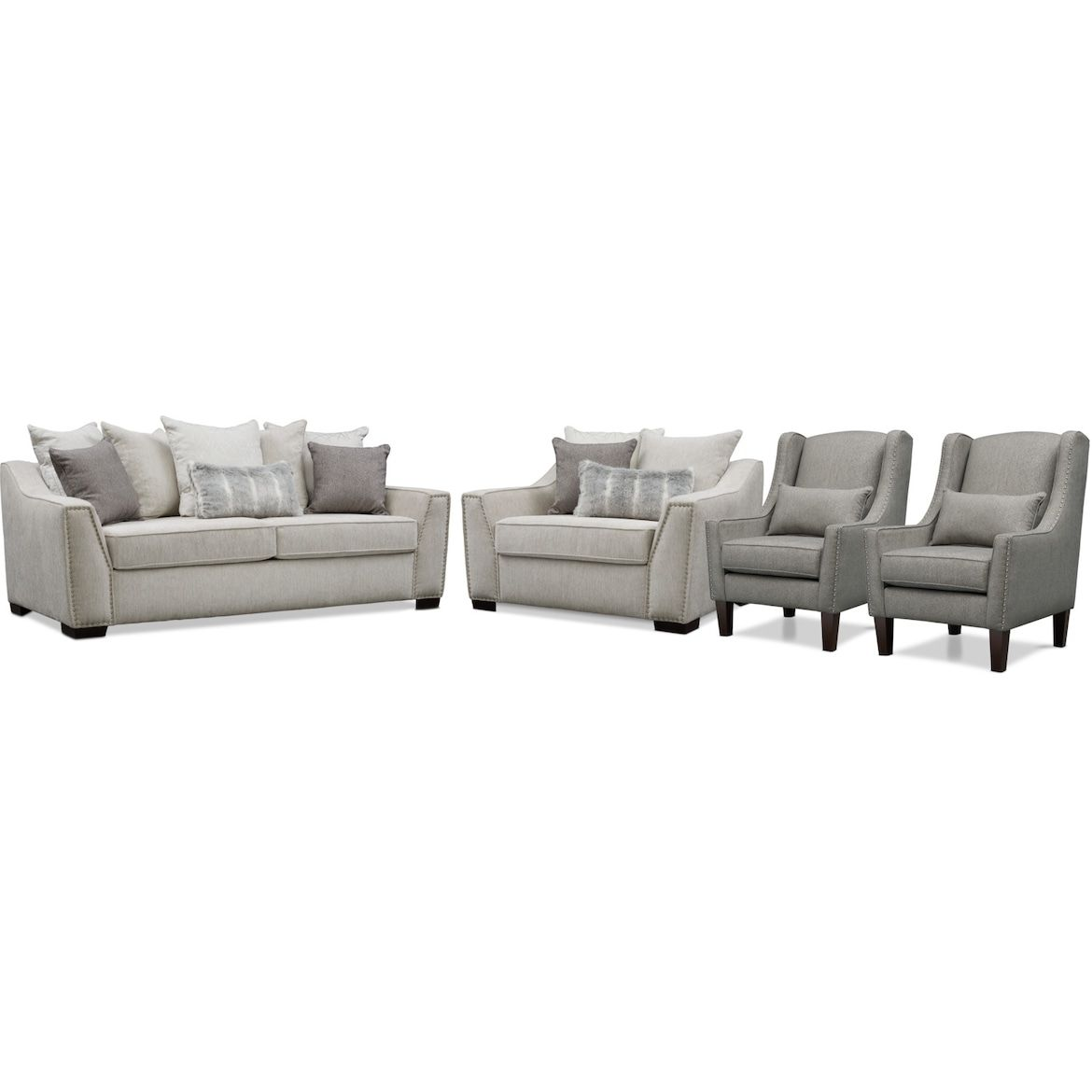 Roxie Sofa Chair And A Half And 2 Accent Chairs Chair And A Half Value City Furniture Accent Chairs For Living Room