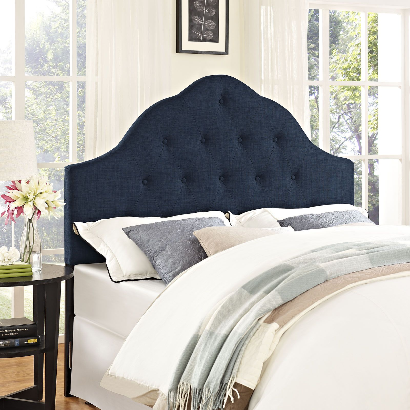 Modway Sovereign Fabric Headboard In Navy (Queen), Beige Off White