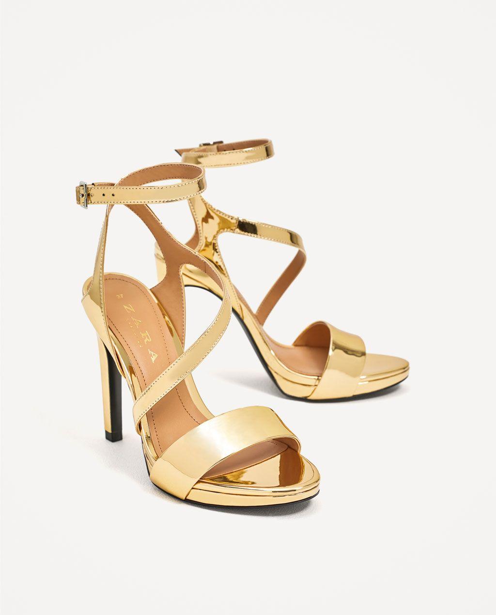 METALLIC HIGH HEEL SANDALS Heeled sandalsSHOESWOMAN Gold High Heel SandalsMetallic High HeelsAnkle Strap