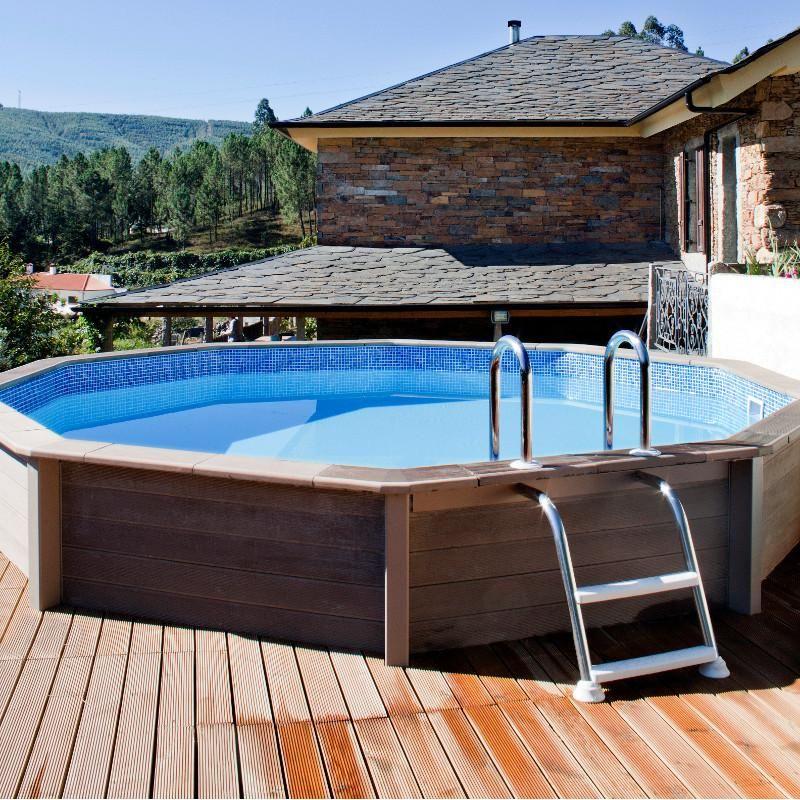 Piscine en béton aspect bois Diam 4,95 x 1,30 NATURALIS - Kit - piscine hors sol beton aspect bois