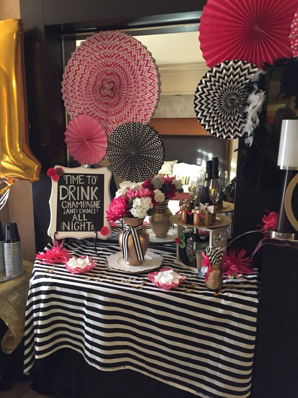 Kate Spade Inspired 21st Birthday Decorations In Vegas Hotel Room
