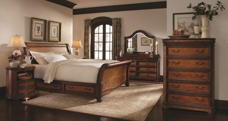 Aspenhome napa sleigh storage bedroom set in cherry in kings