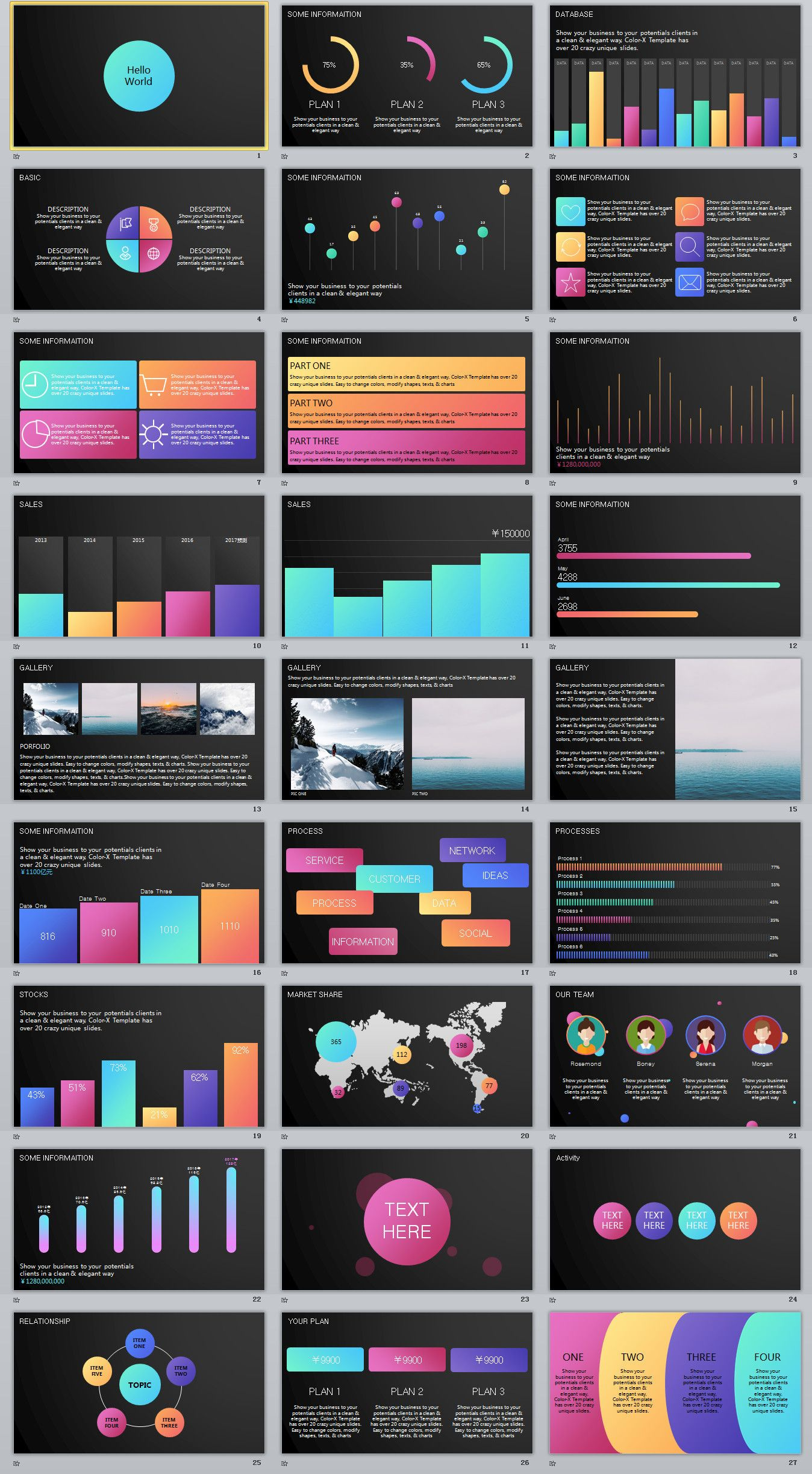 27+ Multicolor Charts data PowerPoint template #powerpoint ...