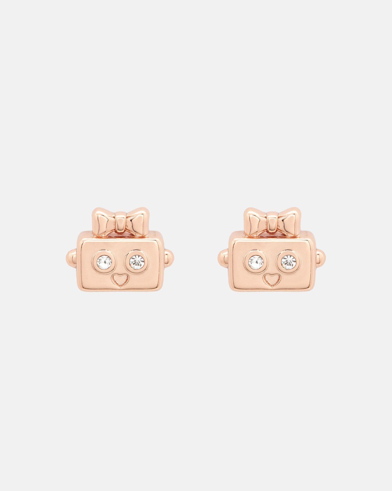 Swarovski Crystal Robot Earrings Rose Gold Jewellery Ted Baker Uk