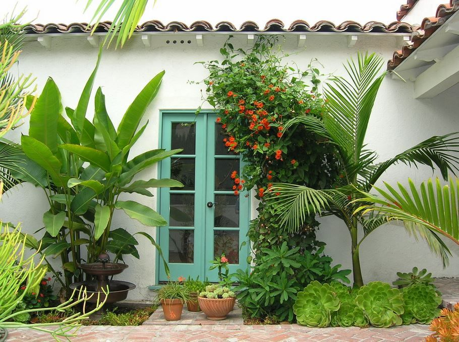 Tropical Landscaping In A Los Angeles Yard Decoist Tropical Landscape Design Tropical Backyard Tropical Landscaping