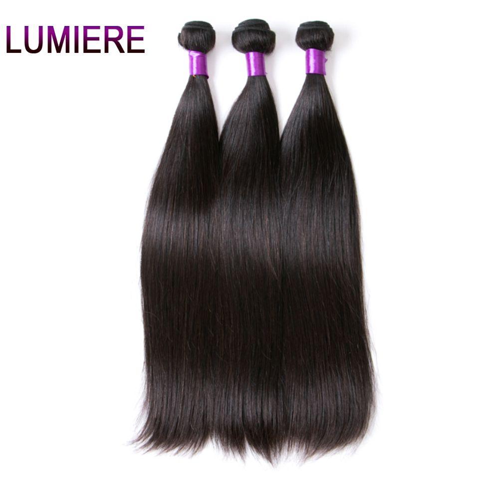 Lumiere Hair Peruvian Straight Hair Bundles Natural Color Human Hair