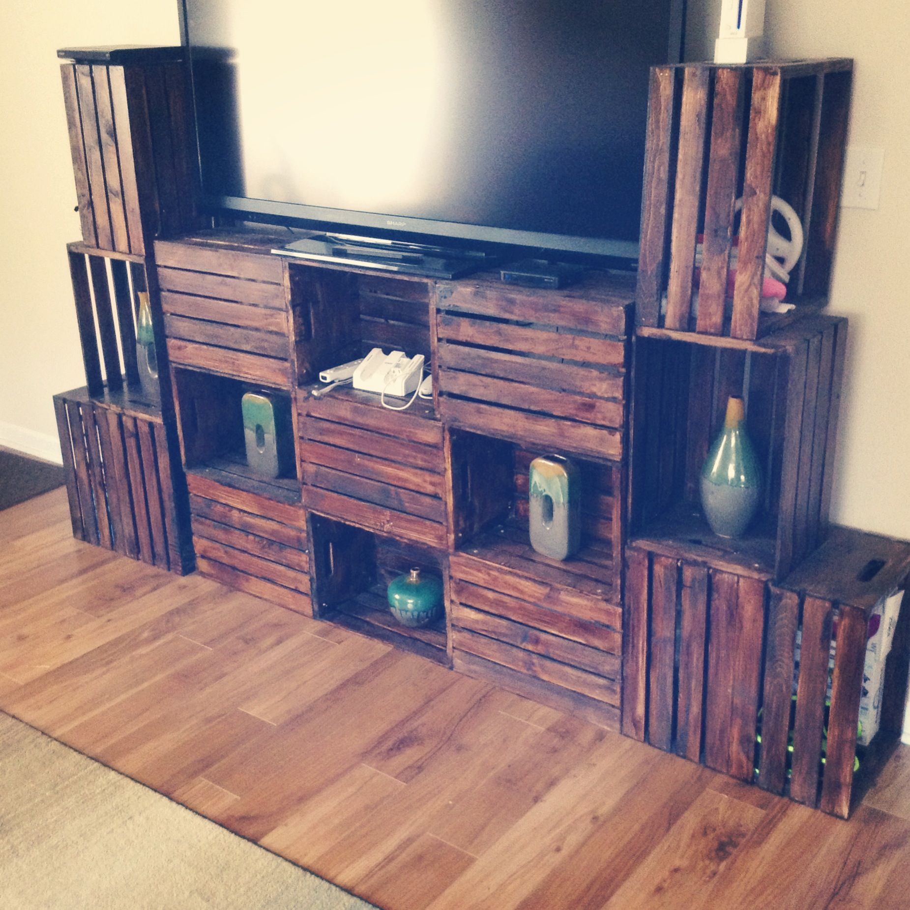 Diy crate console table - Crate Furniture Diy Tv Stand