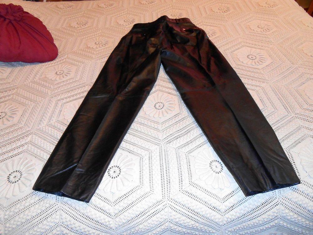 Vintage 80s black leather rocker biker motorcycle pants s