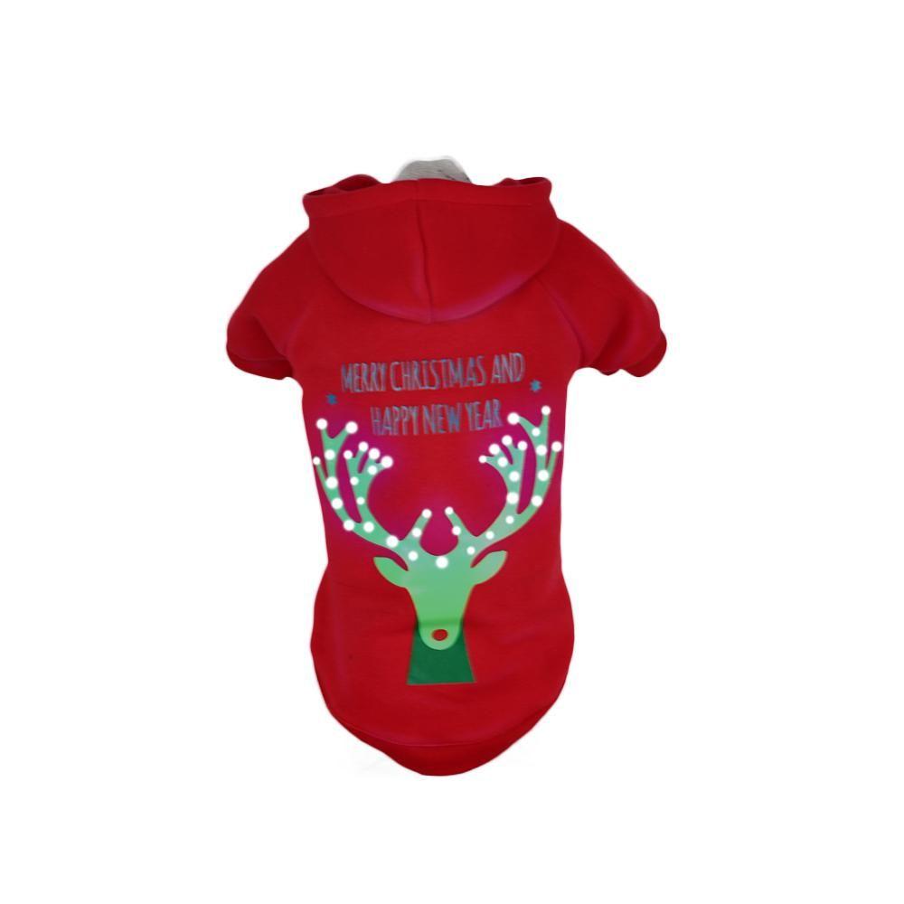 PET LIFE Large Red Deer LED Lighting Christmas Reindeer Hooded Sweater Pet Hoodie-FBP4RDLG - The Home Depot