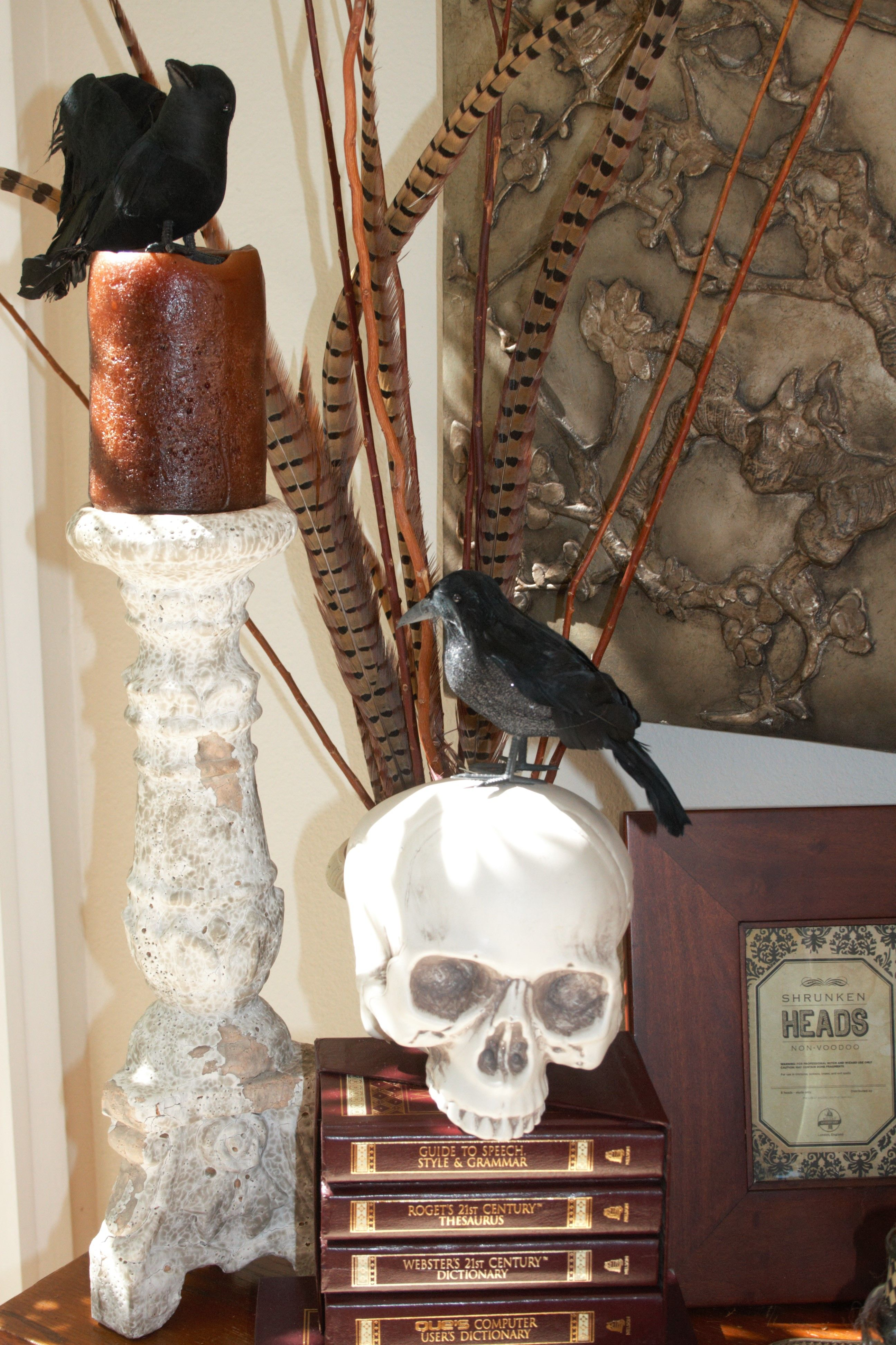 Halloween Decorating with Birds and Skulls Jacqueline Elane ... on christmas home designs, thanksgiving home designs, theater designs, modern family home designs, house home designs, star wars home designs,