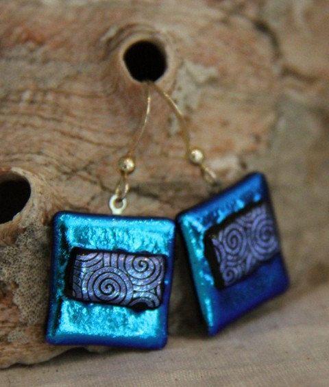 Rolling Waves aqua purple fused glass earrings. $22.00, via Etsy.