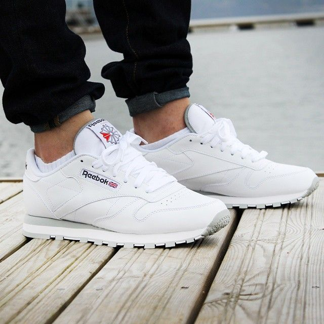 Image result for white Reebok Classic Leather kicks  761a75634cfae