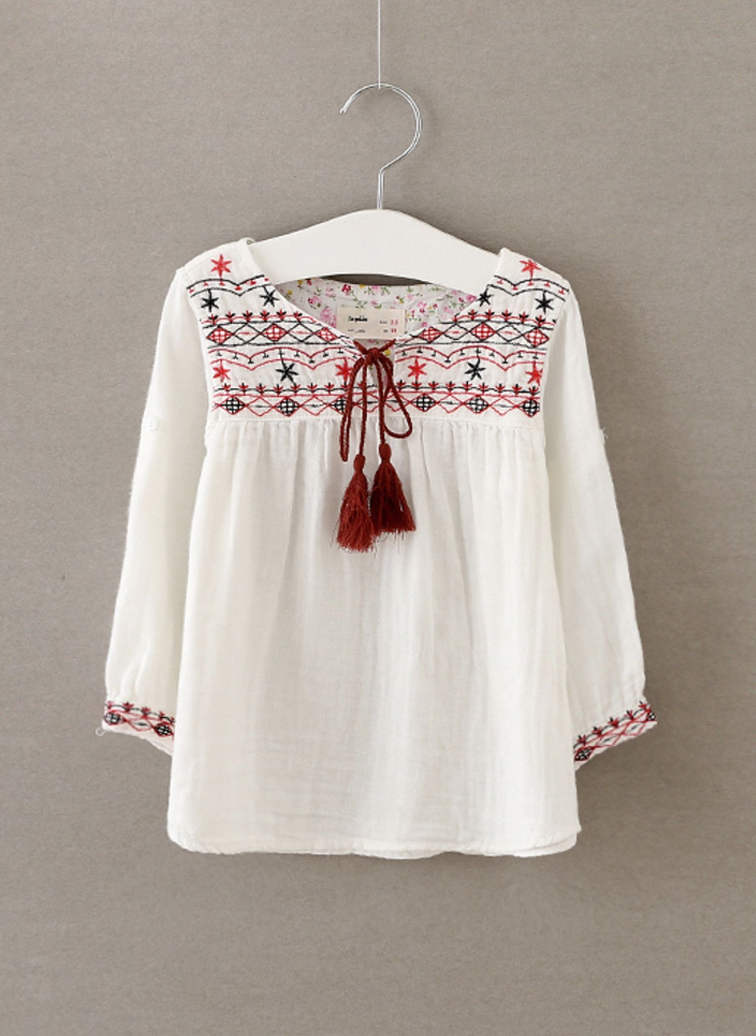 Embroidery Cotton Blouse Top Peasant Japanese Indian Ethnic Loose Floral Cute
