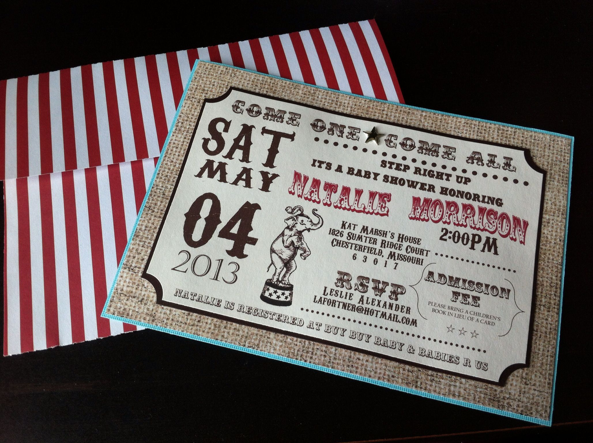 Vintage circus themed baby shower invitations | Party Ideas ...