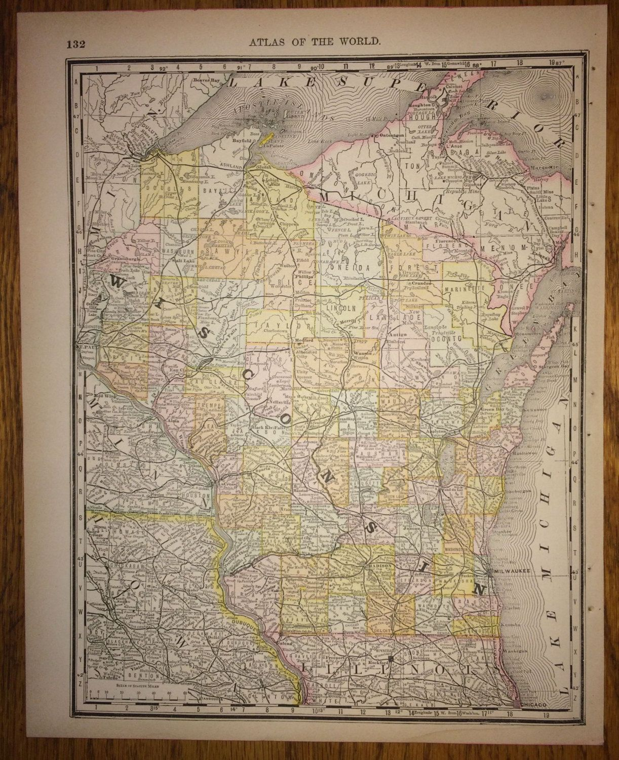 Wisconsin or lower michigan large map 1888 rand mcnally standard wisconsin or lower michigan large map 1888 rand mcnally standard world atlas antique milwaukee detroit gumiabroncs Images