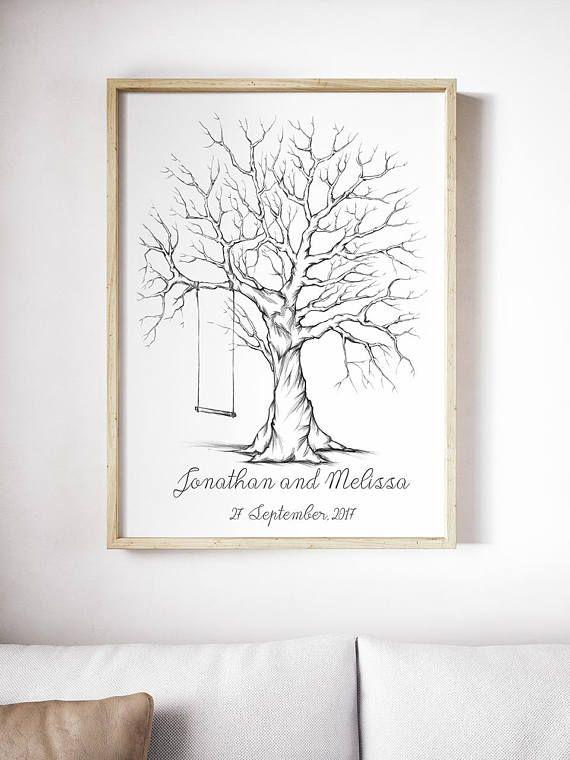 Printable fingerprint tree, Customizable Thumbprint tree, wedding