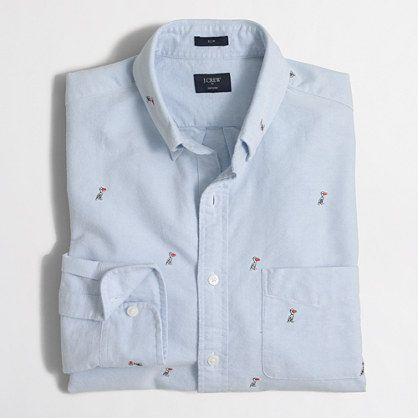 Slim embroidered oxford shirt : FactoryMen Shirts | Factory