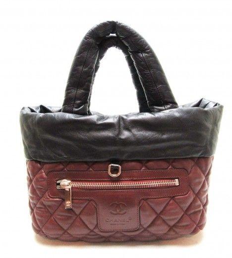 a60372f39 CHANEL Coco Cocoon Reversible Black Burgundy Lambskin Leather Tote Bag,  Handbag