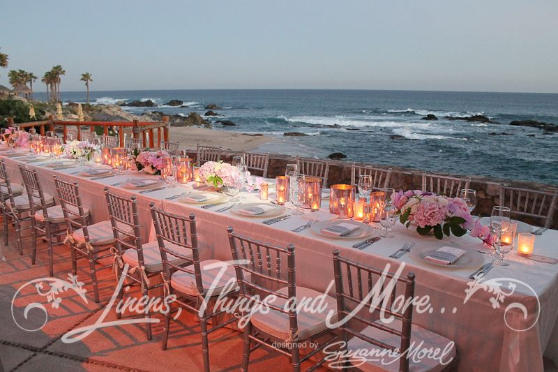 Elegant imperial table silver and blush at the Esperanza resort designed by Matthew Robbins and Linens, Things and More...