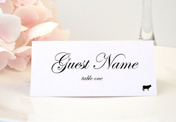 PRINTED Place Card, Table Card, Escort Card, Name Card, Folded ...