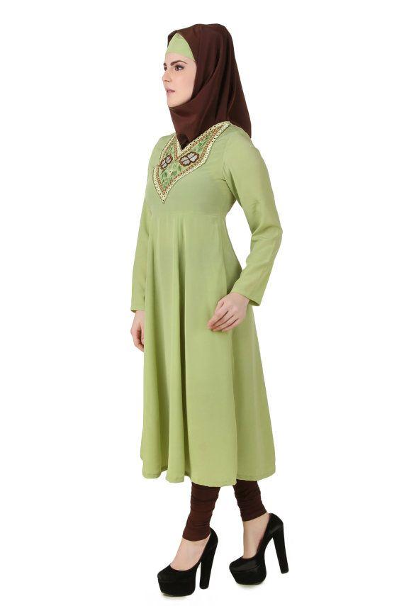 MyBatua Ghusoon Parrot Green Crepe Short Abaya Stylish by MyBatua