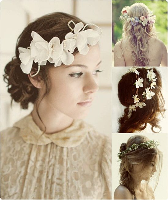 Pretty Hair Floral Headband Hairstyle For Wedding With Cheap And Best Extension Clip In