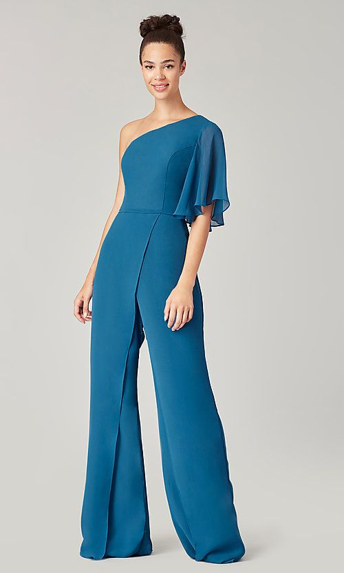 One-Shoulder Long Bridesmaid Jumpsuit by Kleinfeld