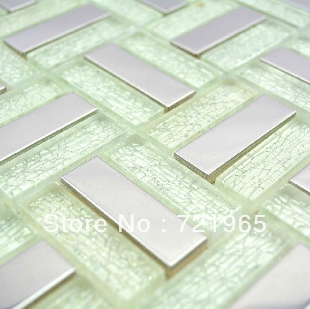 Stainless steel glass mosaic tile SSMT199 discount glass mosaic ...