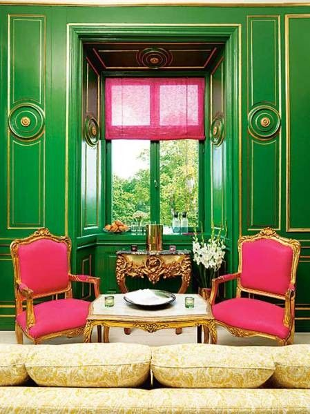 Decorating With Jewel Tone Colors Kelly GreenPink ChairsGold