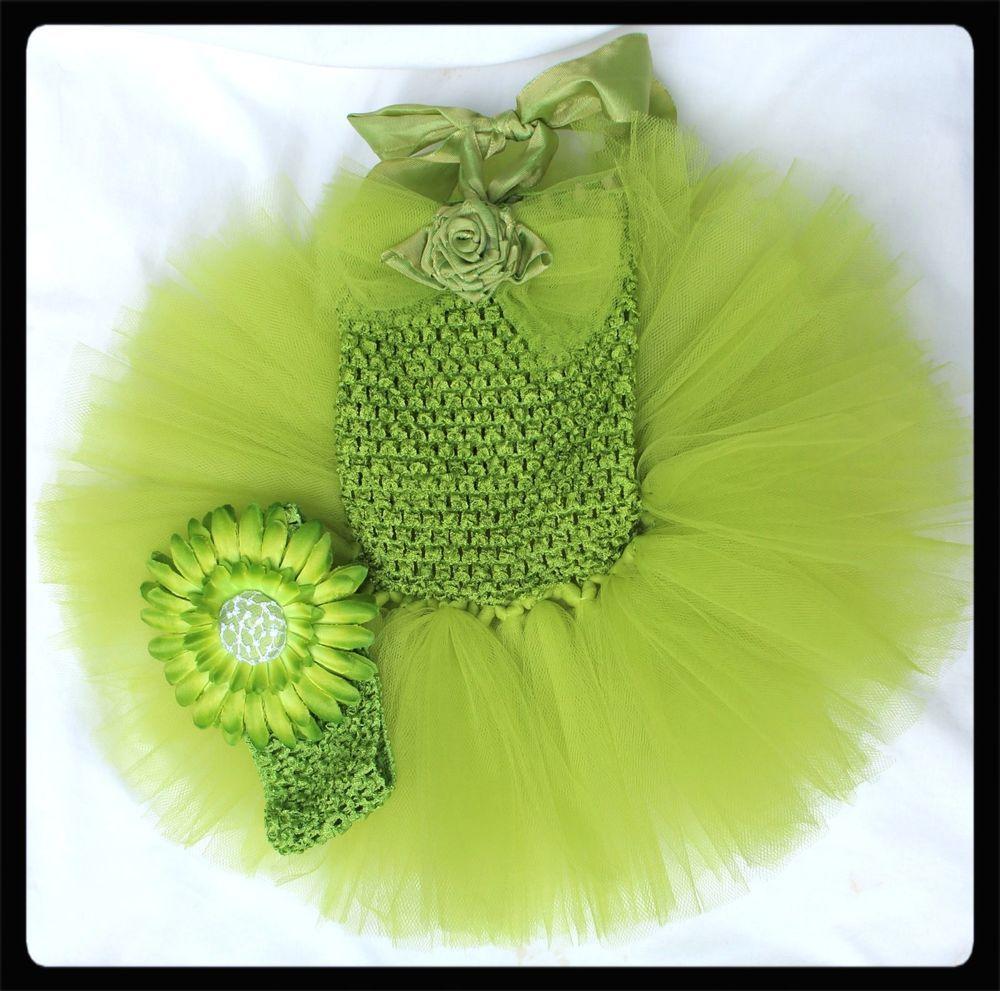 889d931087 Kiwi green baby tutu dress comes with Gerber daisy hair clip on headband  ballet