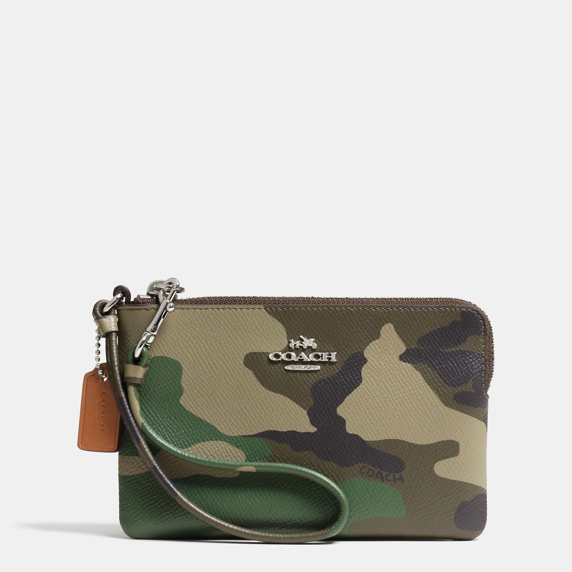 5016c032ef42b Small L-Zip Wristlet in Camo Print Crossgrain Leather | Bag lady ...