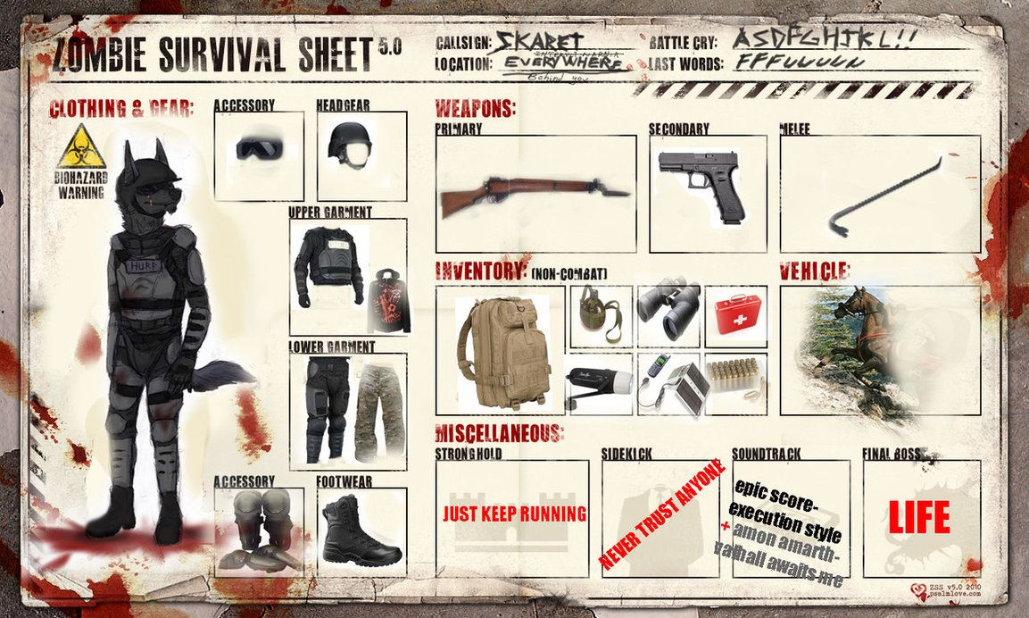 Zombie Survival Sheet - Do You Want To Know What the Best Survival ...