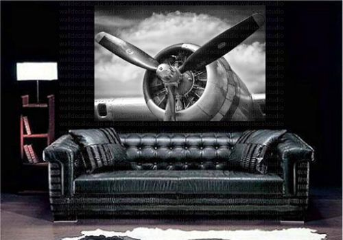 Airplane Retro Aircraft Plane Propeller Art Canvas Poster