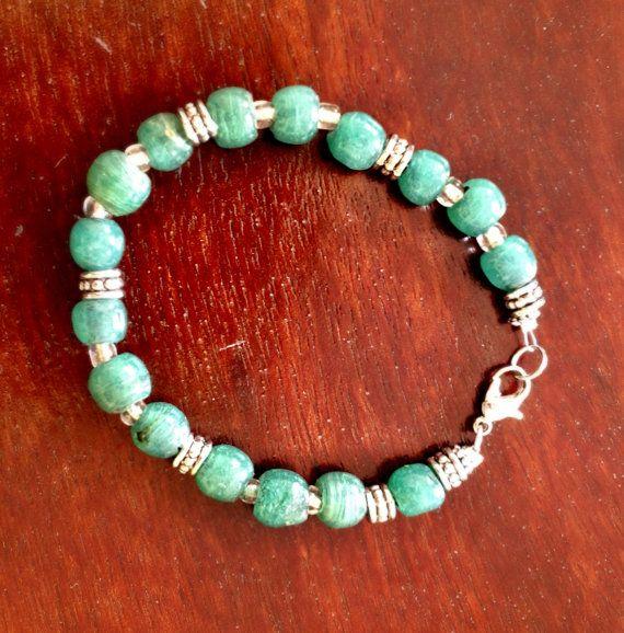 Jade and silver metal bracelet repurposed from vintage jade necklace.
