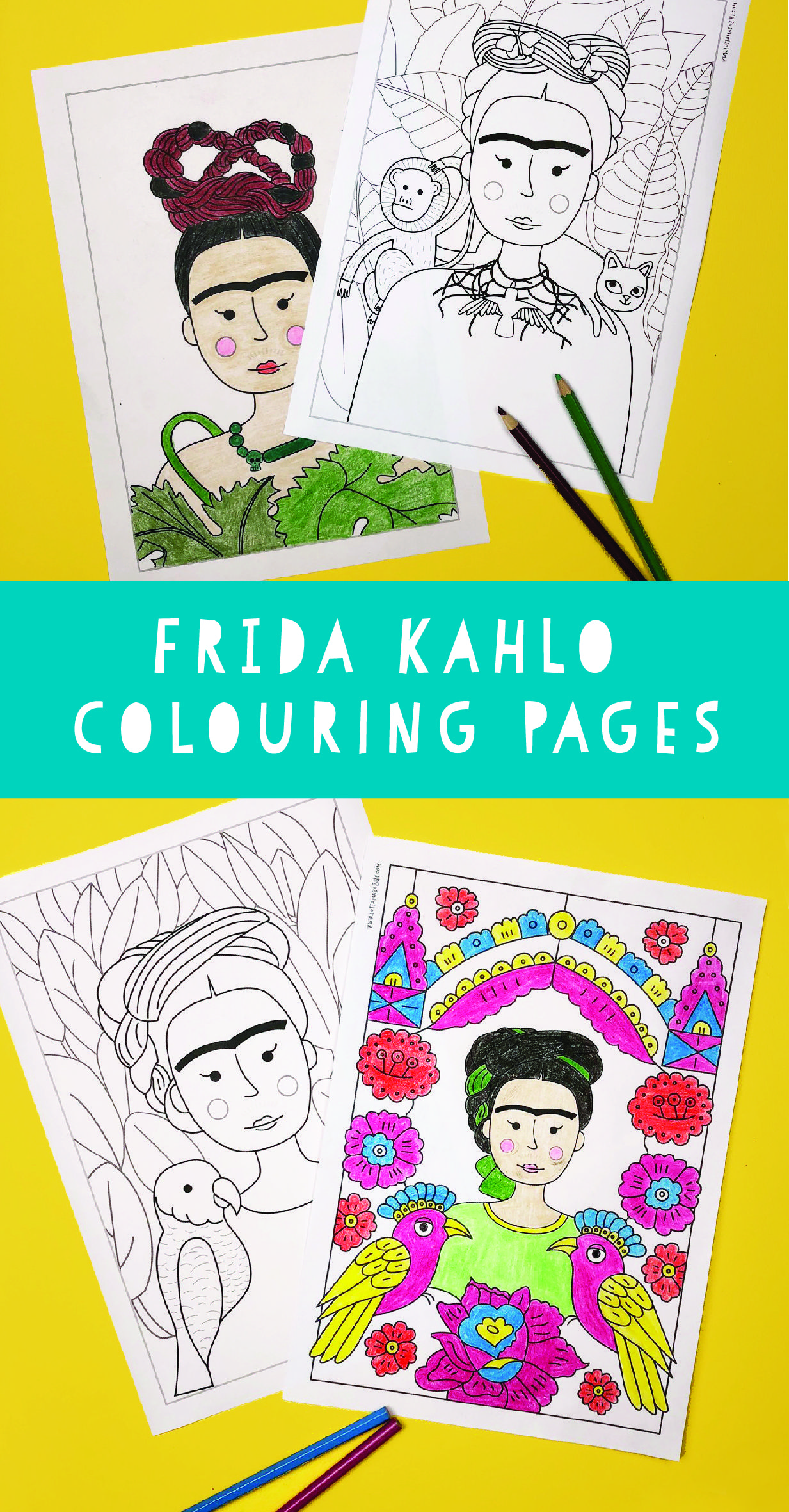 Frida kahlo colouring pagescoloring pages recreating her