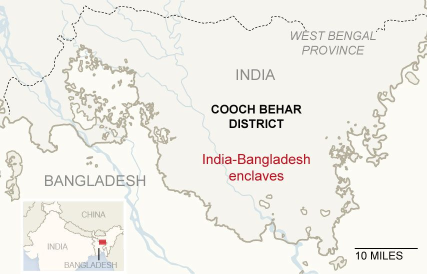 India - Desh enclaves from : NYT | Geography | Map ... on