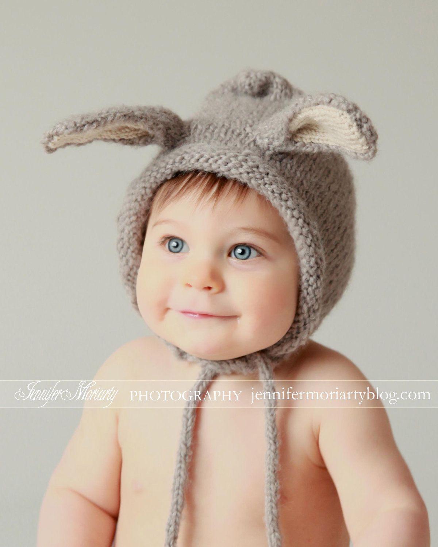 cabbefb2cbe I think I need this for my last baby. Bunny Hat - Bunny Ears - Knit ...