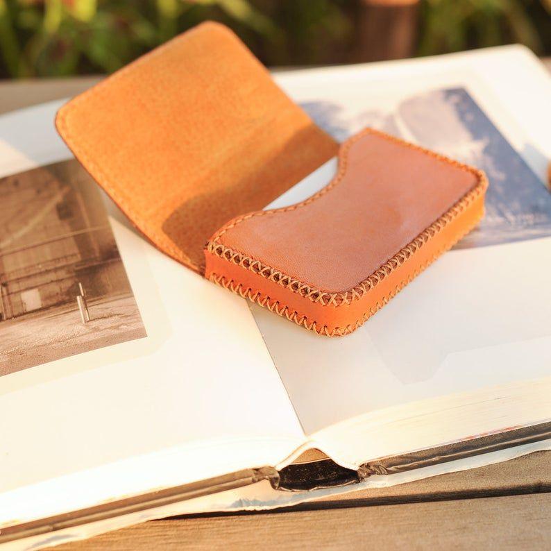 Orange Leather Card Holder Credit Card Holder Business Card Case Name Card Holder Pocket Card Case Name Card Wallet Handmade Card Case Leather Business Card Holder Card Holder Leather Leather Business