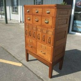 Great Antiques By Design   Yawman And Erbe Oak 4 Section Stacking File Cabinet